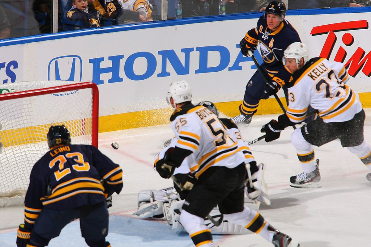 BUFFALO, NY - FEBRUARY 08: Derek Roy #9 of the Buffalo Sabres watches his shot bounce off the post behind Tim Thomas #30 of the Boston Bruins  at First Niagara Center on February 8, 2012 in Buffalo, New York.  (Photo by Rick Stewart/Getty Images)