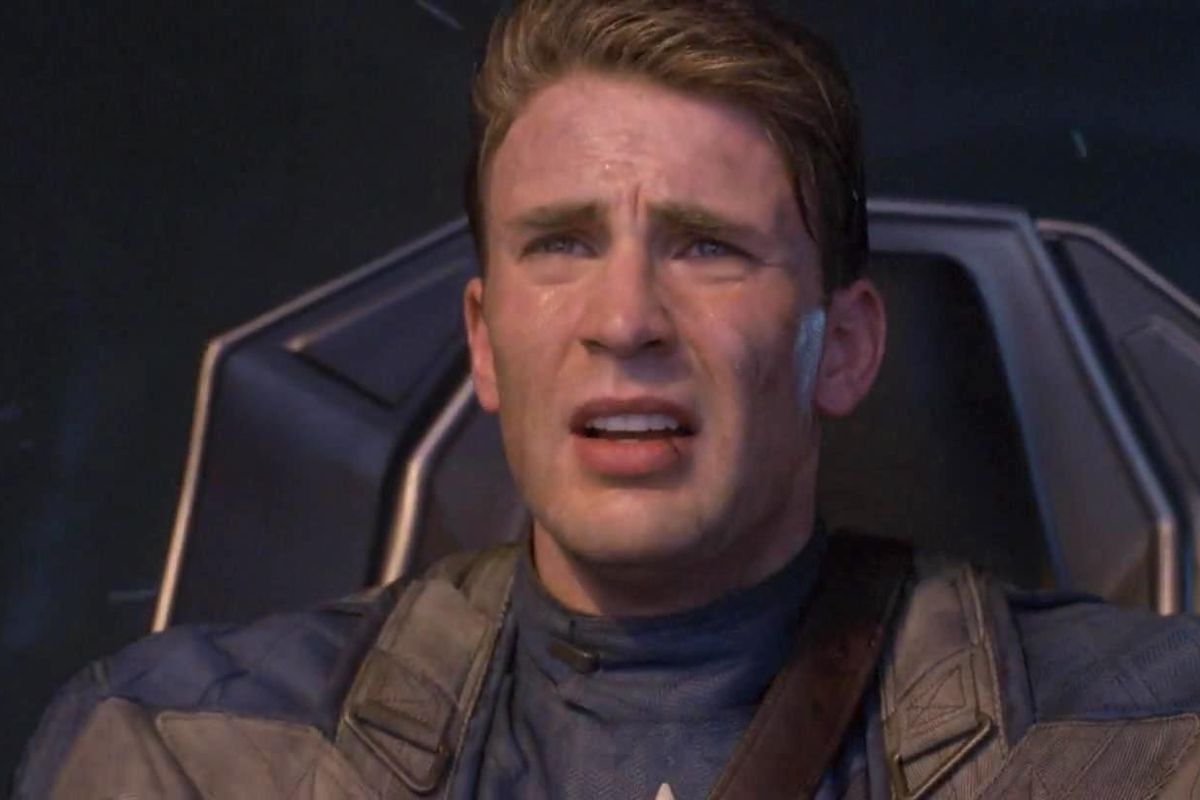 chris evans as captain america in the first avenger, crash landing the Red Skulls's plane into the arctic
