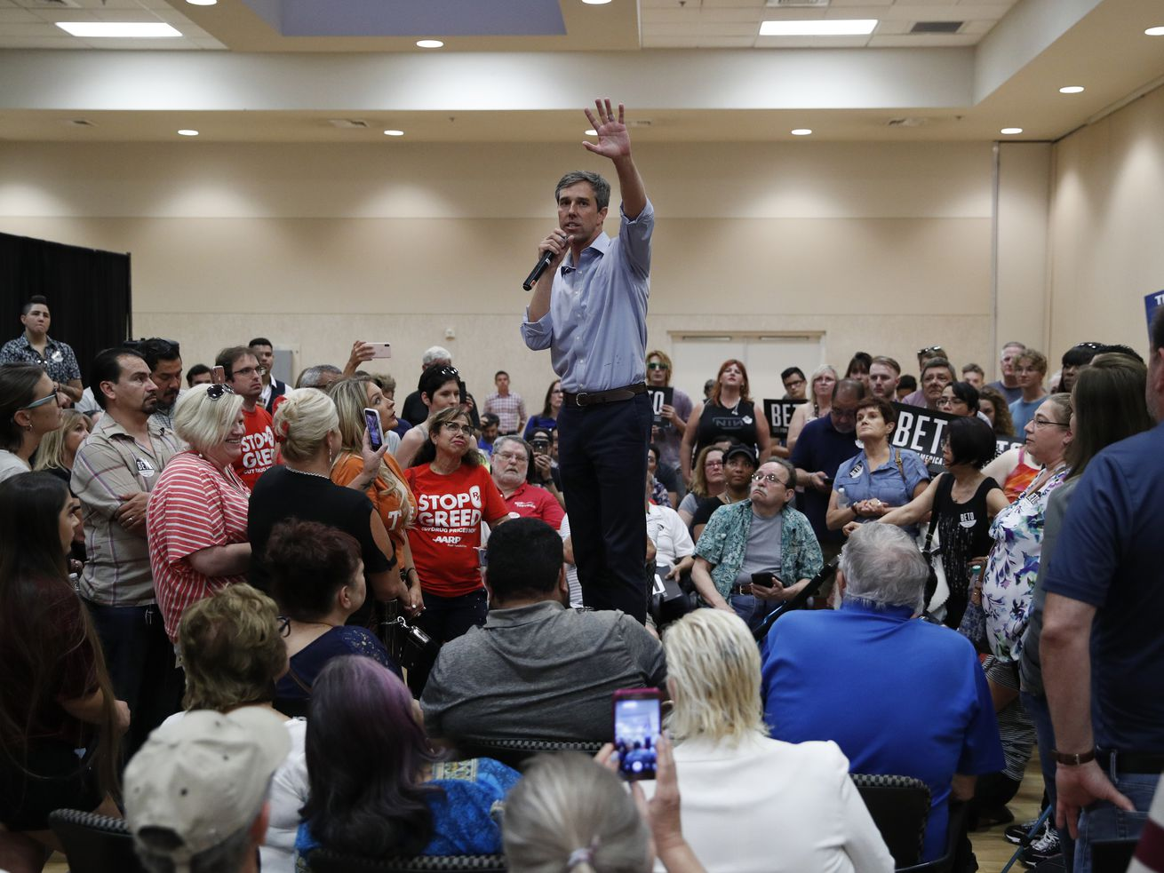 Democratic presidential candidate and former Texas U.S. Rep. Beto O'Rourke speaks at a campaign event, Thursday, Aug. 1, 2019, in Las Vegas. (AP Photo/John Locher)