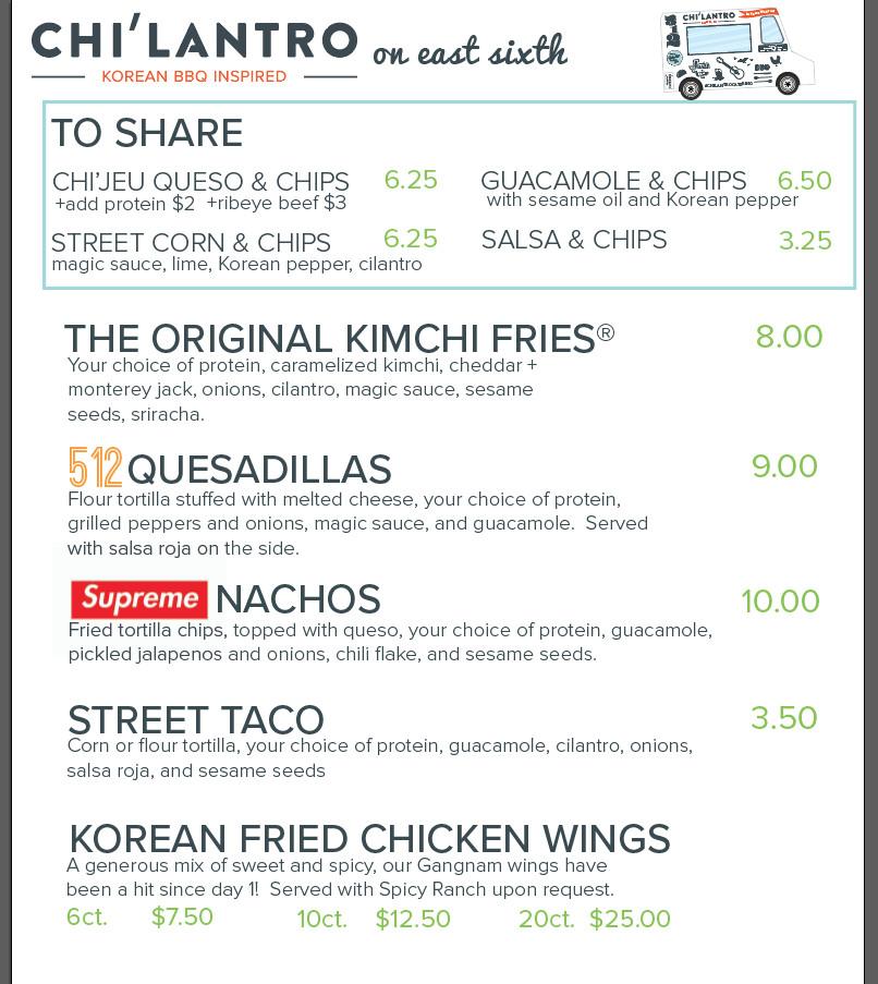 Chi'lantro's East 6th Street menu