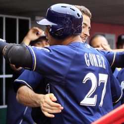 Milwaukee Brewers' Carlos Gomez (27) is hugged by Ryan Braun after hitting a solo home run in third inning of a baseball game against the Cincinnati Reds, Thursday, Sept. 27, 2012, in Cincinnati.