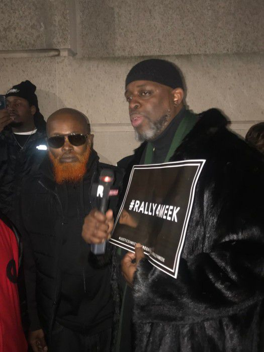 Entertainment mogul Charlie Mack and Meek Mill's uncle show support at a rally for Meek Mill outside of the courthouse in Philadelphia.