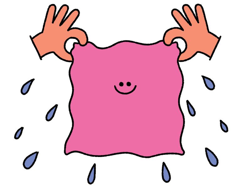 Two hands hold up a pink napkins which has a smiling face. There are liquid droplets emanating from the napkin. This is an illustration.