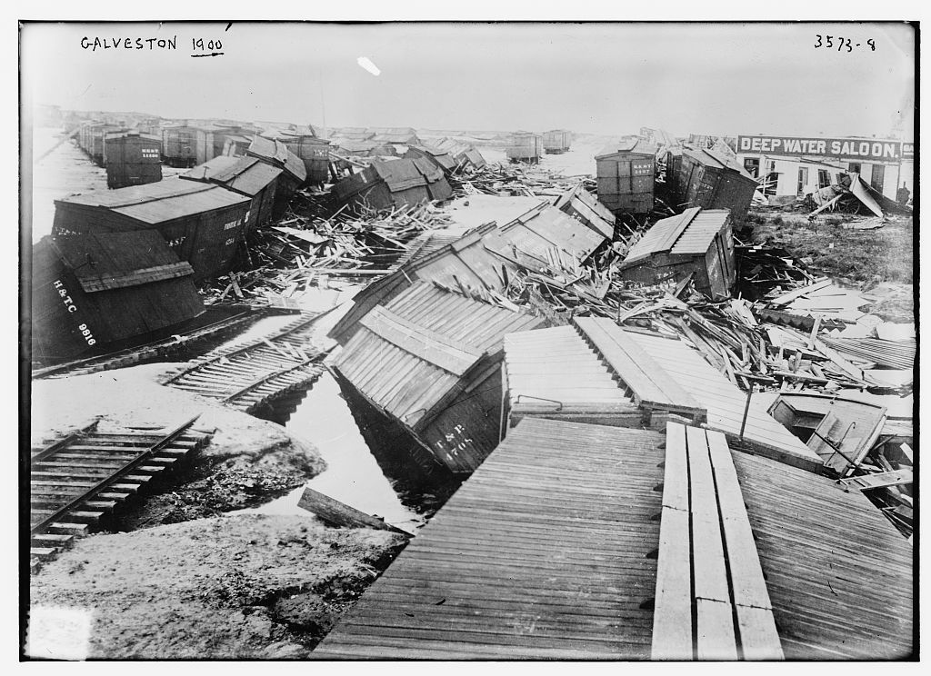 Photograph showing the aftermath of the 1900 Galveston hurricane.