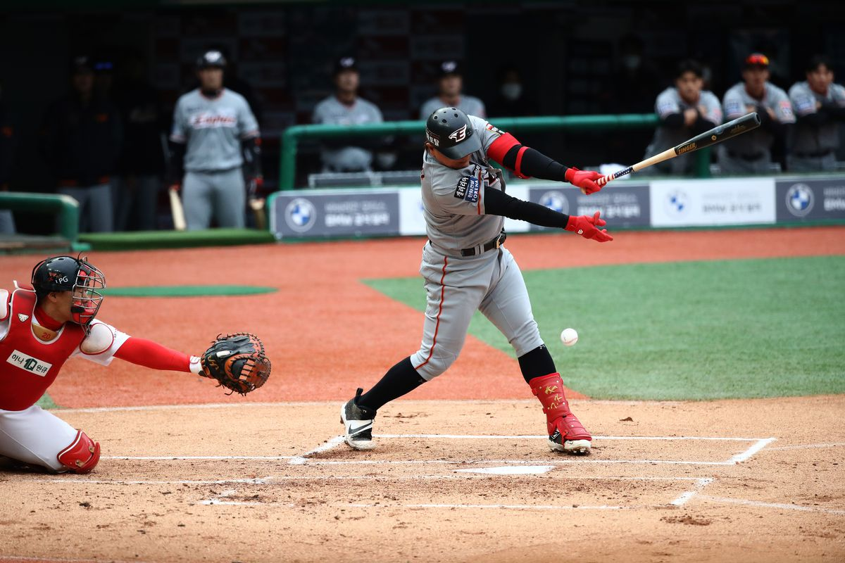 Kim Tae-gyun of Hanwha Eagles bats during the Korean Baseball Organization (KBO) League opening game between SK Wyverns and Hanwha Eagles at the empty SK Happy Dream Ballpark on May 05, 2020 in Incheon, South Korea.