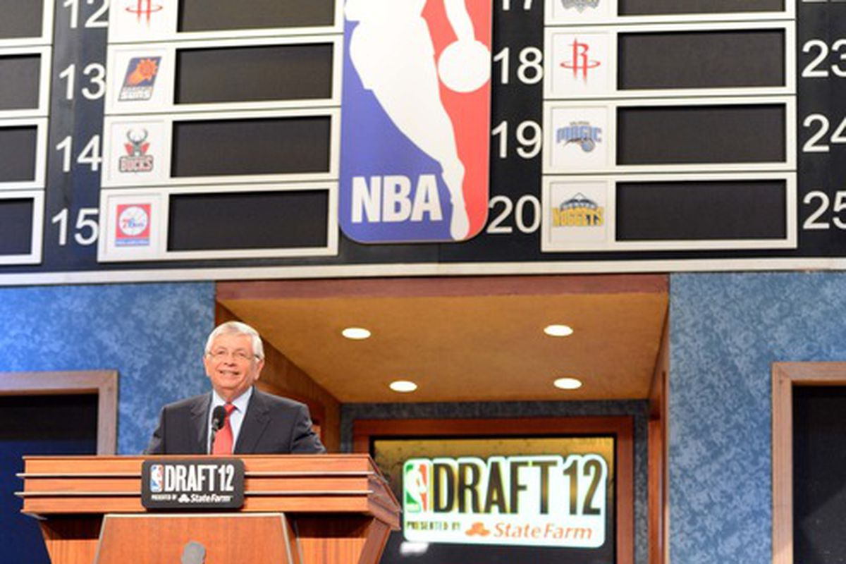 June 28, 2012; Newark, NJ, USA; NBA commissioner David Stern speaks during the 2012 NBA Draft at the Prudential Center.  Mandatory Credit: Jerry Lai-US PRESSWIRE