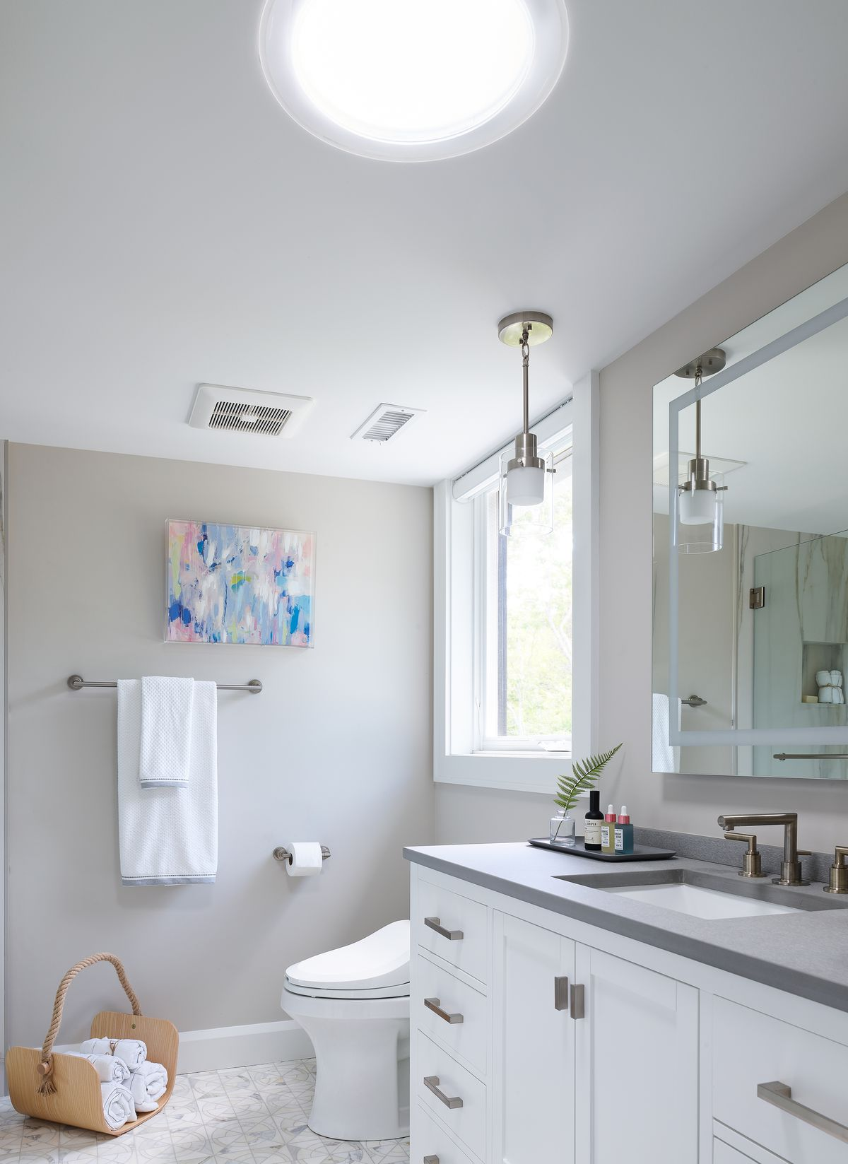 Velux light tube in bathroom.