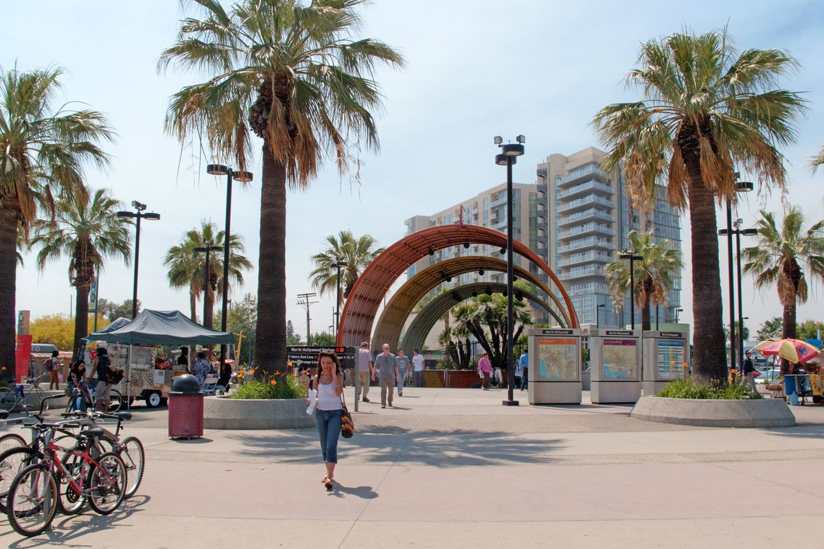 The plaza of the North Hollywood Metro station in North Hollywood.