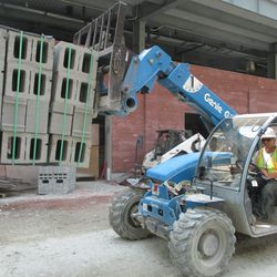 3:04 p.m. Concrete blocks being moved down Sheffield -