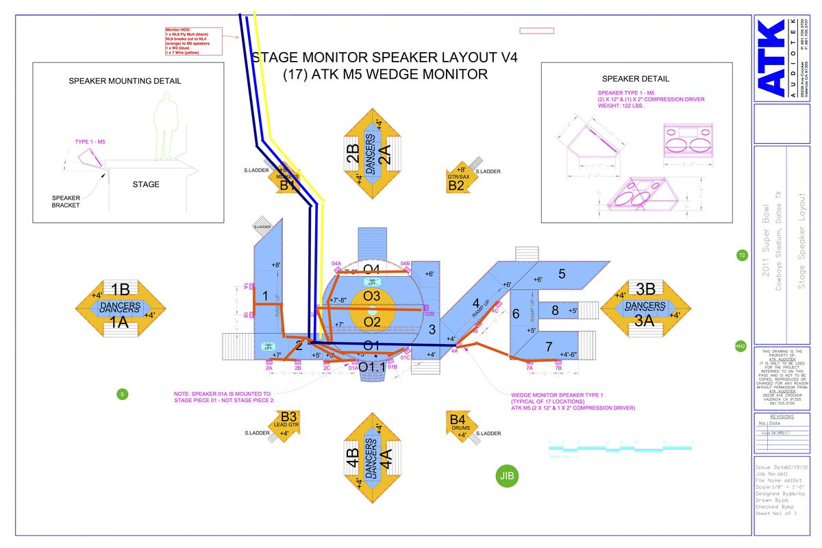 How The Super Bowl Halftime Show Gets Set Up In Just Six Minutes 6 Way Trailer Wiring Diagram Bulb Failure Baltzells Cad Drawing For Black Eyed Peas Performance