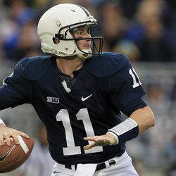 Penn State quarterback Matthew McGloin (11) look to pass during the first quarter of an NCAA college football game against Temple in State College, Pa., Saturday, Sept. 22, 2012.