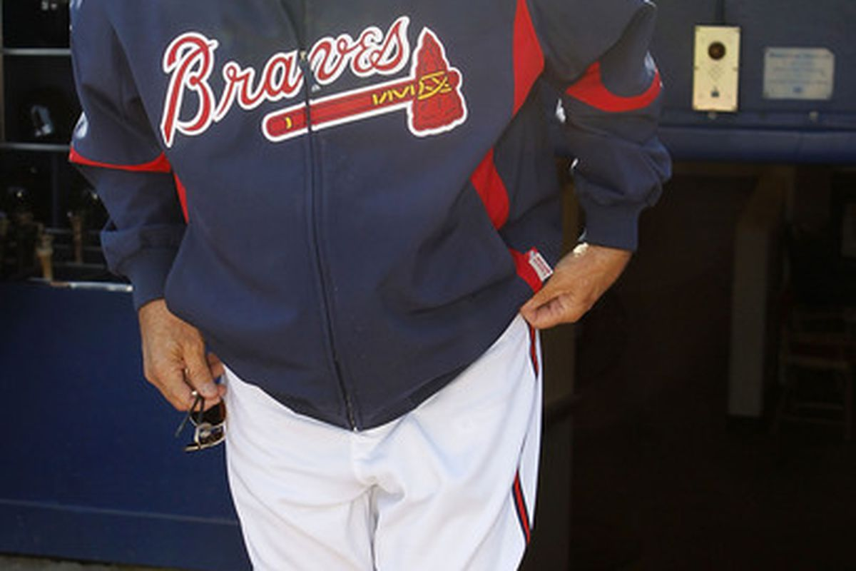 ATLANTA - OCTOBER 03:  Manager Bobby Cox #6 of the Atlanta Braves walks onto the field before the game against the Philadelphia Phillies at Turner Field on October 3 2010 in Atlanta Georgia.  (Photo by Mike Zarrilli/Getty Images)