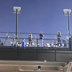 6:50 p.m. Photographer's platform located behind Section 303, in the bleachers -