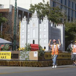 The Latter-day Saint Salt Lake Granite Stake float makes its way along the Days of '47 Parade route in Salt Lake City on Friday, July 23, 2021. The float won the Spirit of Faith Award for best depiction of a religious theme.