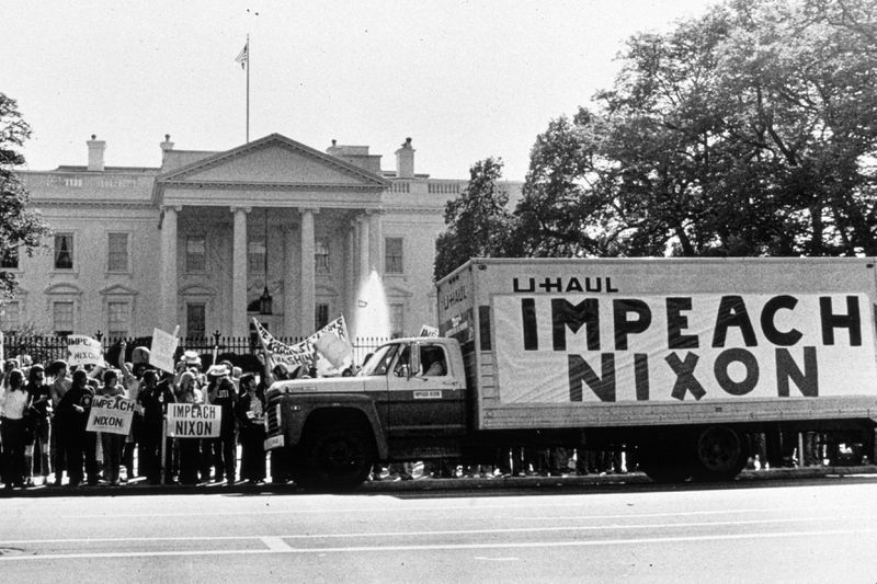 A demonstration outside the White House in support of the impeachment of President Nixon.