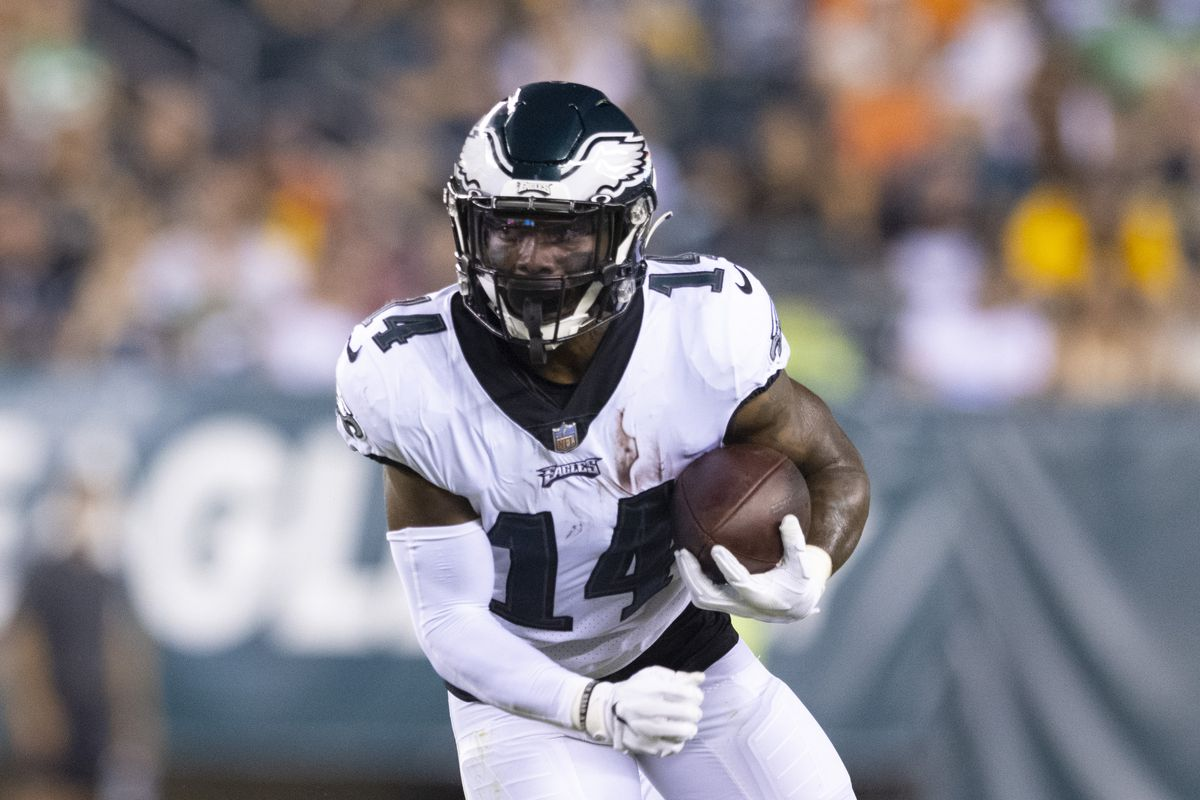 Kenneth Gainwell #14 of the Philadelphia Eagles runs the ball against the Pittsburgh Steelers during the preseason game at Lincoln Financial Field on August 12, 2021 in Philadelphia, Pennsylvania.