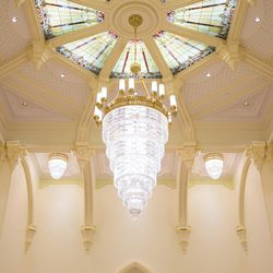 The chandelier and ceiling inside the celestial room of the Provo City Center Temple.