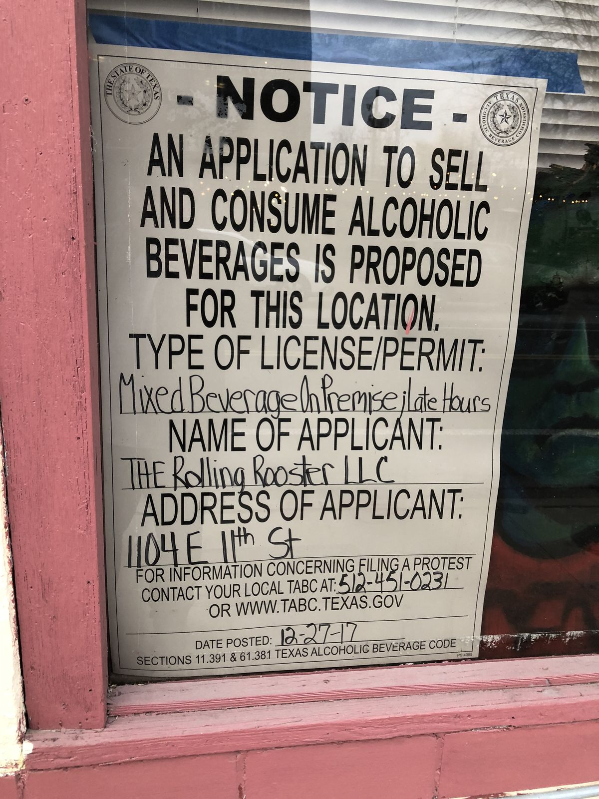 Rolling Rooster's TABC permit application