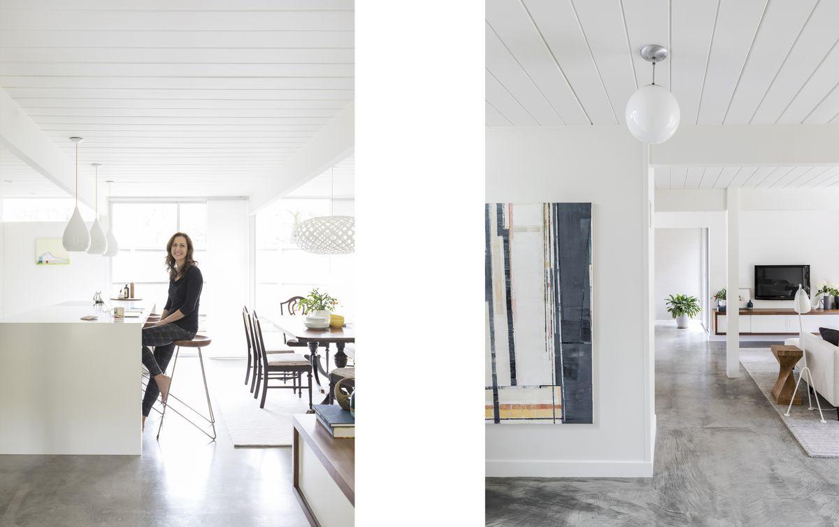 LeeAnn Manon sits at her sleek kitchen island; concrete floors have radient heat.