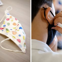 (Left) A student's mask lays on a desk, adorned with colorful smiley faces. (Right) A student adjusts their mask while listening in the classroom.