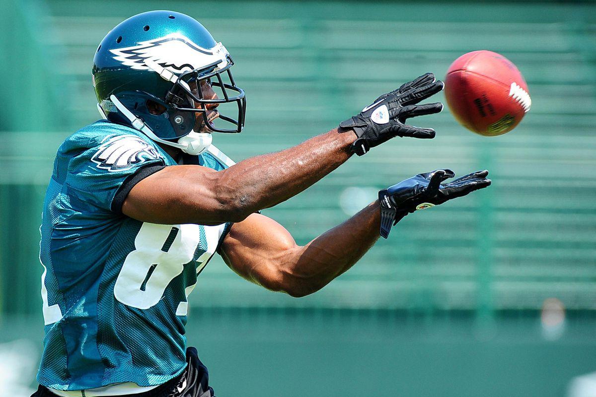 July 26, 2012;Bethlehem, PA. USA; Philadelphia Eagles wide receiver Jason Avant (81) catches a pass during training camp at Lehigh University. Mandatory Credit: Evan Habeeb-US PRESSWIRE