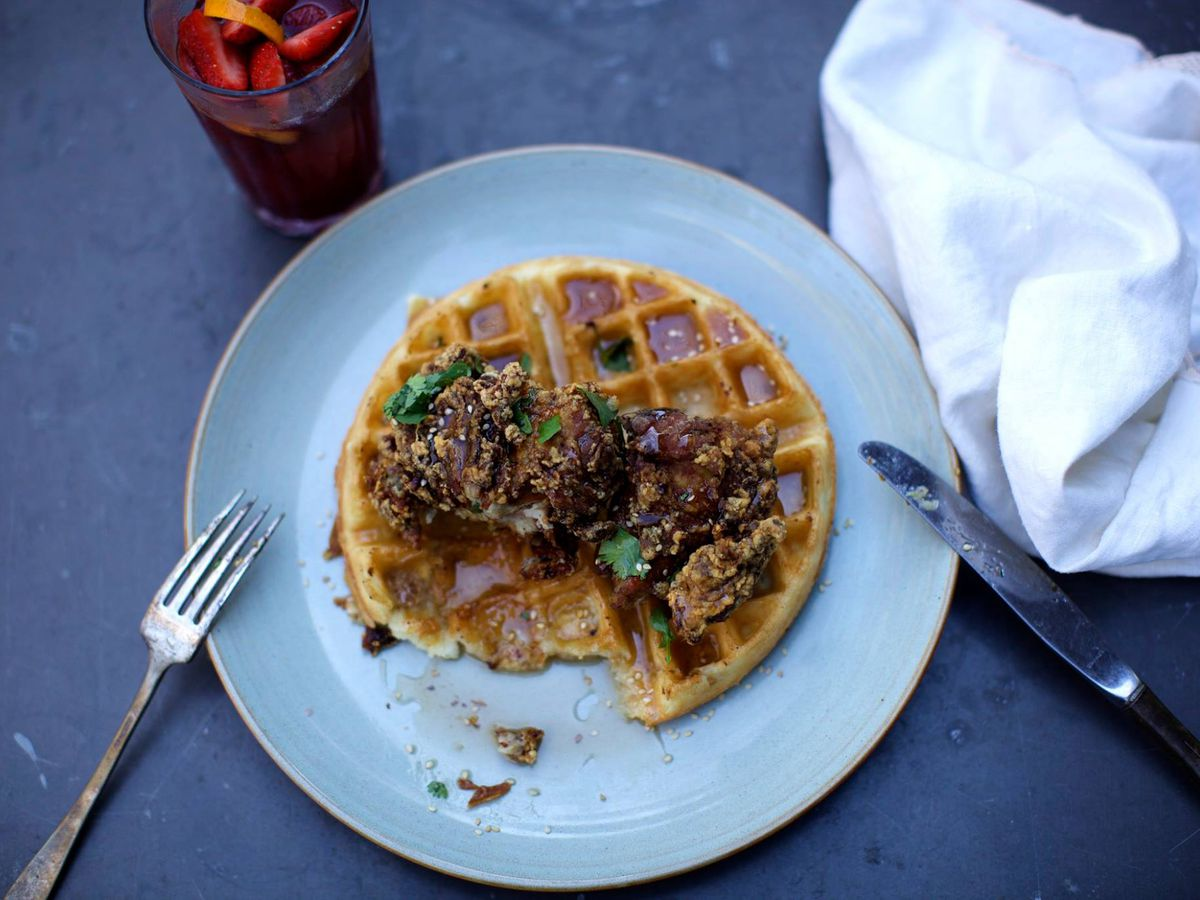 The chicken and waffles at Thai Fresh