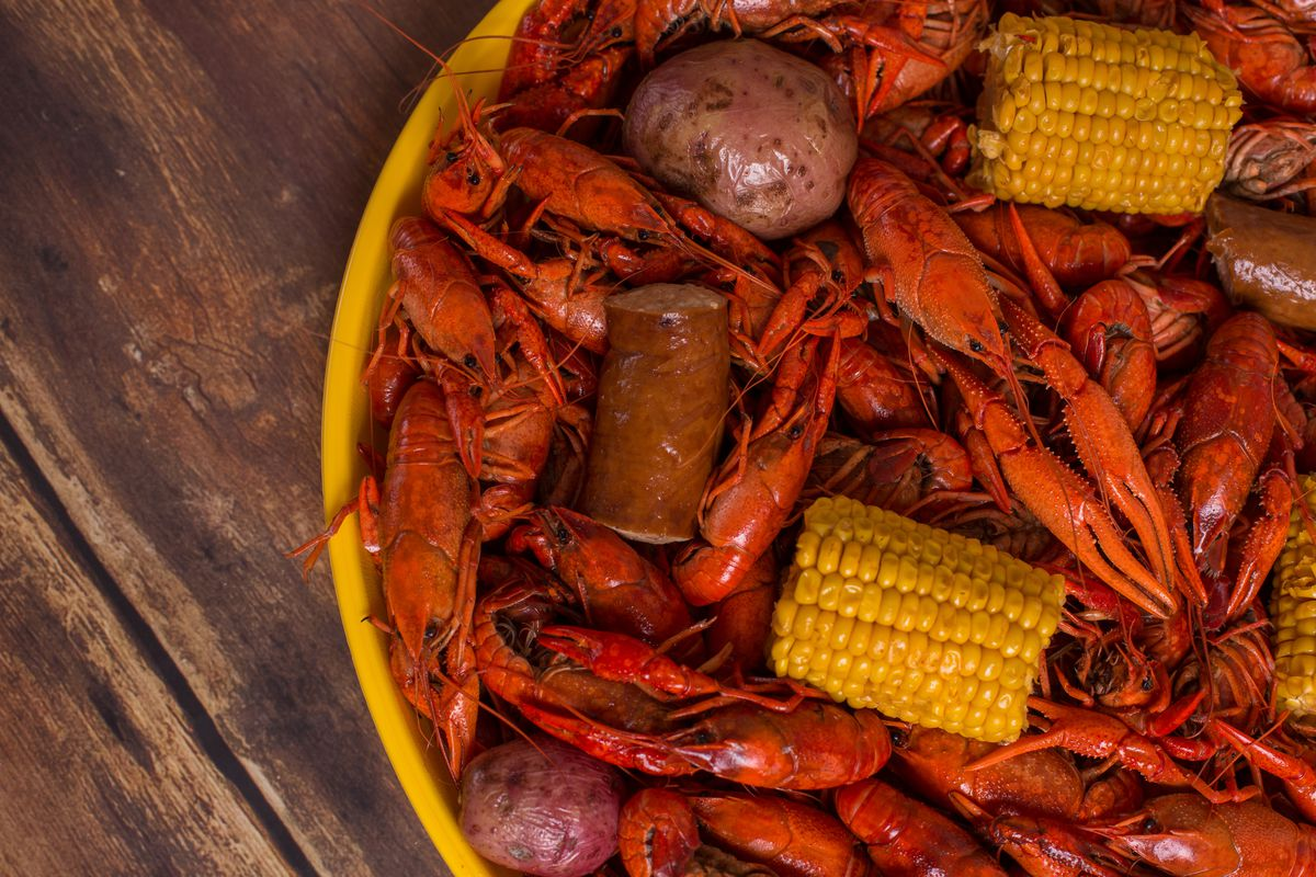 Boiled crawfish with corn, potatoes, and sausage