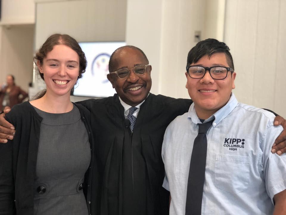 KIPP teacher Milica Bison, board chair Judge Algenon Marbley, and student Armando all participated in the ceremony.