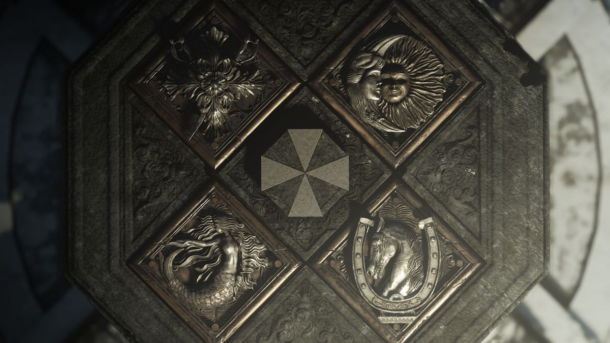 The Umbrella insignia surrounded by multiple crests in Resident Evil Village
