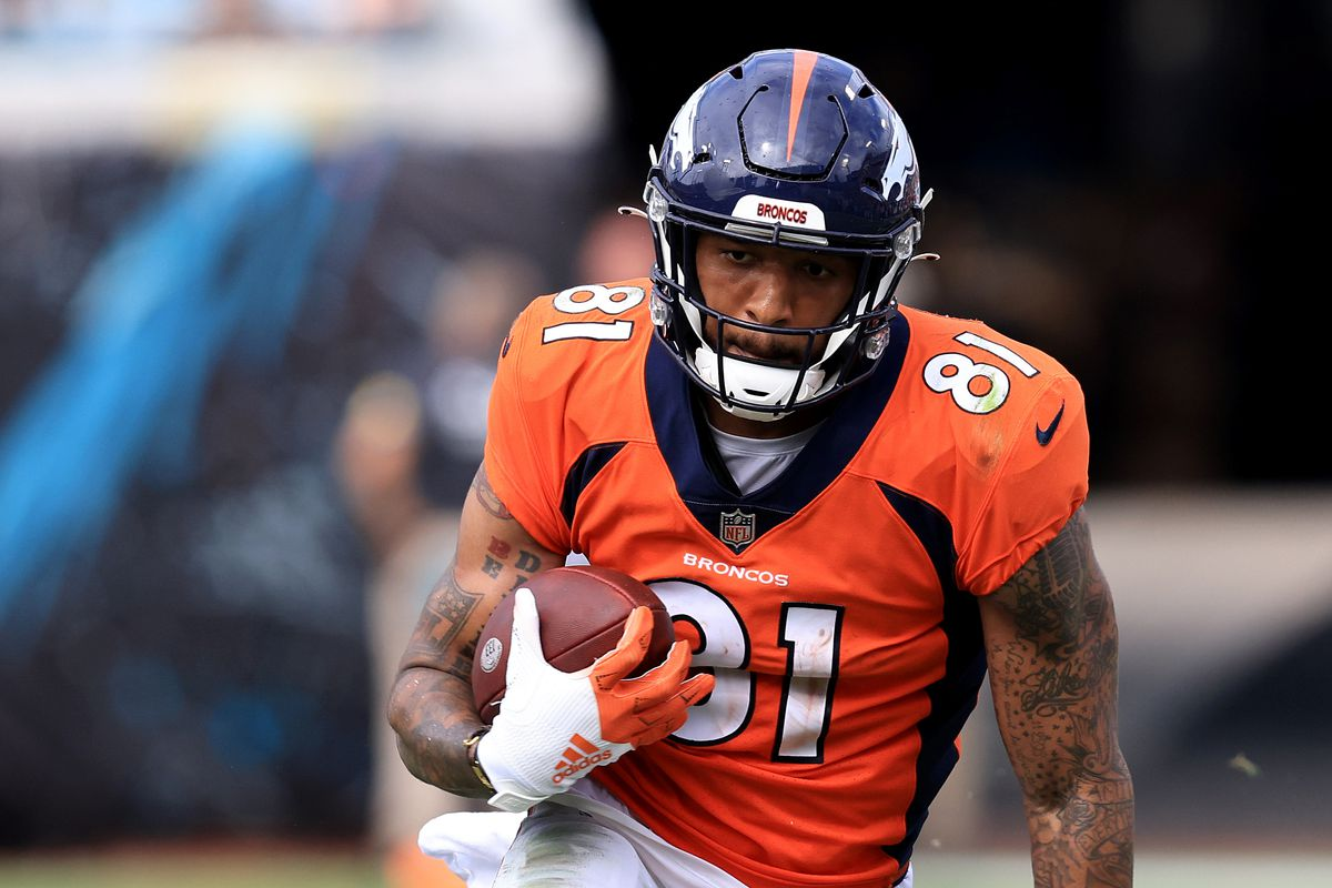 Tim Patrick #81 of the Denver Broncos runs for yardage during the game against the Jacksonville Jaguars at TIAA Bank Field on September 19, 2021 in Jacksonville, Florida.