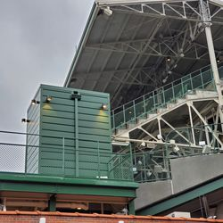 Left field corner of the upper deck, and new elevator in the left field bleachers