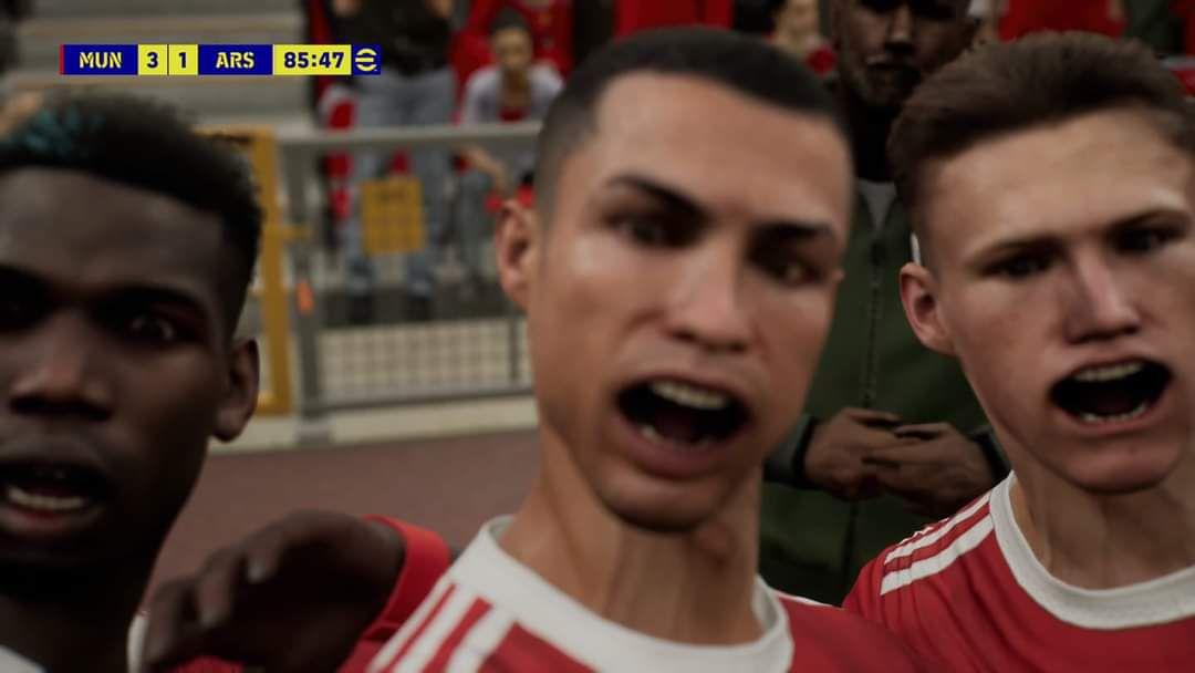 Cristiano Ronaldos Mund verzog sich in einem fehlerhaften Screenshot von eFootball