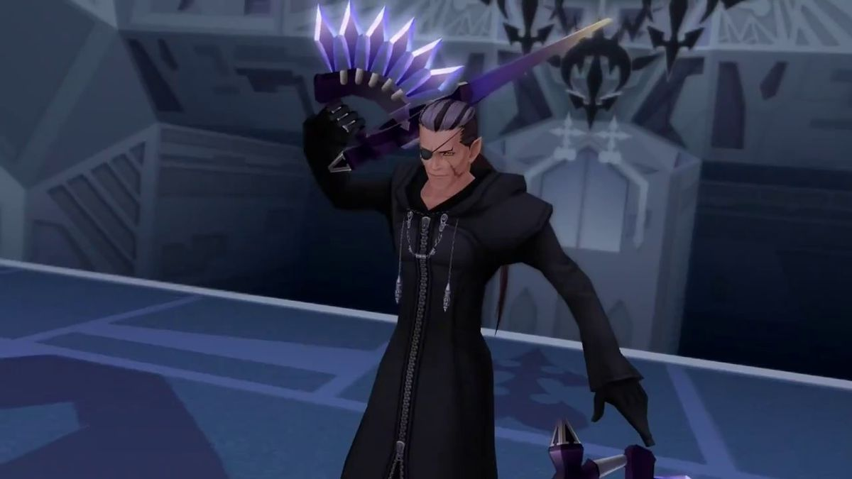 A boss fight with Xigbar in Kingdom Hearts 2.