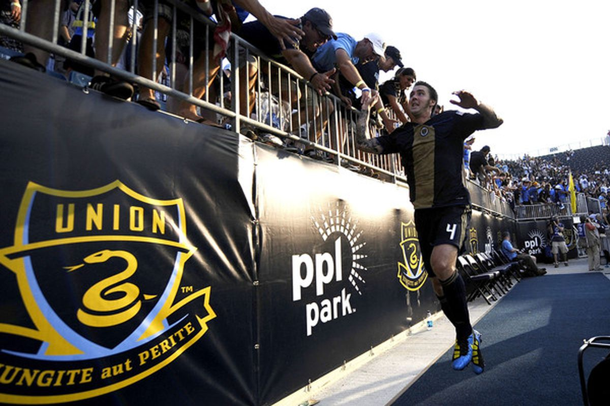 CHESTER, PA - JUNE 27:  Danny Califf #4 of the Philadelphia Union celebrates win over Seattle Sounders FC at the PPL Park stadium opener on June 27, 2010 in Chester, Pennsylvania.  (Photo by Jeff Zelevansky/Getty Images)