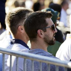 Packers QB Aaron Rodgers watches the Hall of Fame enshrinement ceremony