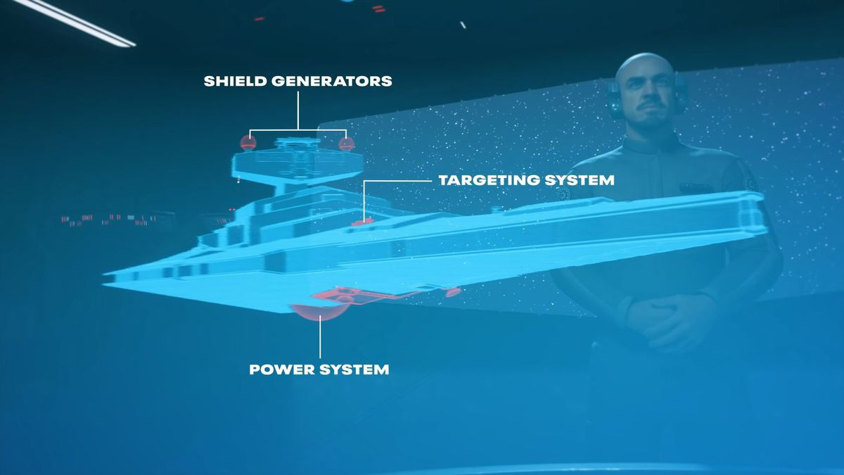 A diagram of an Imperial Star Destroyer shows each of its vital systems.