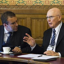Elder Dallin H. Oaks (right) speaks during a panel discussion before the All-Party Parliamentary Group for International Freedom of Religion or Belief in the U.K. House of Lords, on June 8, 2016. To his right is Dr. Peter Petkoff of Brunel and Regent's Park College at Oxford.