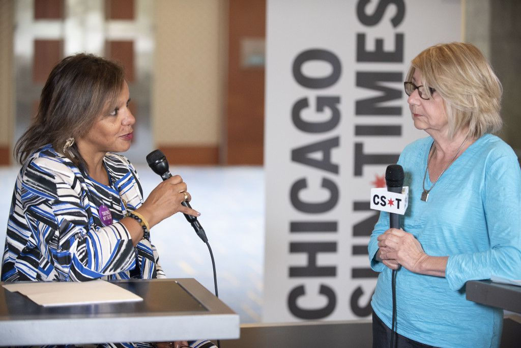 Robin Kelly, (D-IL 2nd District), speaks with Sun-Times Washington Bureau Chief Lynn Sweet at the Democratic National Committee summer meeting in Chicago on August 24, 2018.   Colin Boyle/Sun-Times