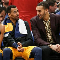 Utah Jazz guard Raul Neto (25), forward Thabo Sefolosha (22) and center Rudy Gobert (27) chat during the game against the Denver Nuggets at Vivint Smart Home Arena in Salt Lake City on Tuesday, Nov. 28, 2017.