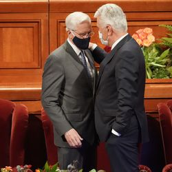 Elders D. Todd Christofferson and Dieter F. Uchtdorf, members of The Church of Jesus Christ of Latter-day Saints' Quorum of the Twelve Apostles, talk prior to the afternoon session of the 191st Semiannual General Conference at the Conference Center in Salt Lake City on Saturday, Oct. 2, 2021.