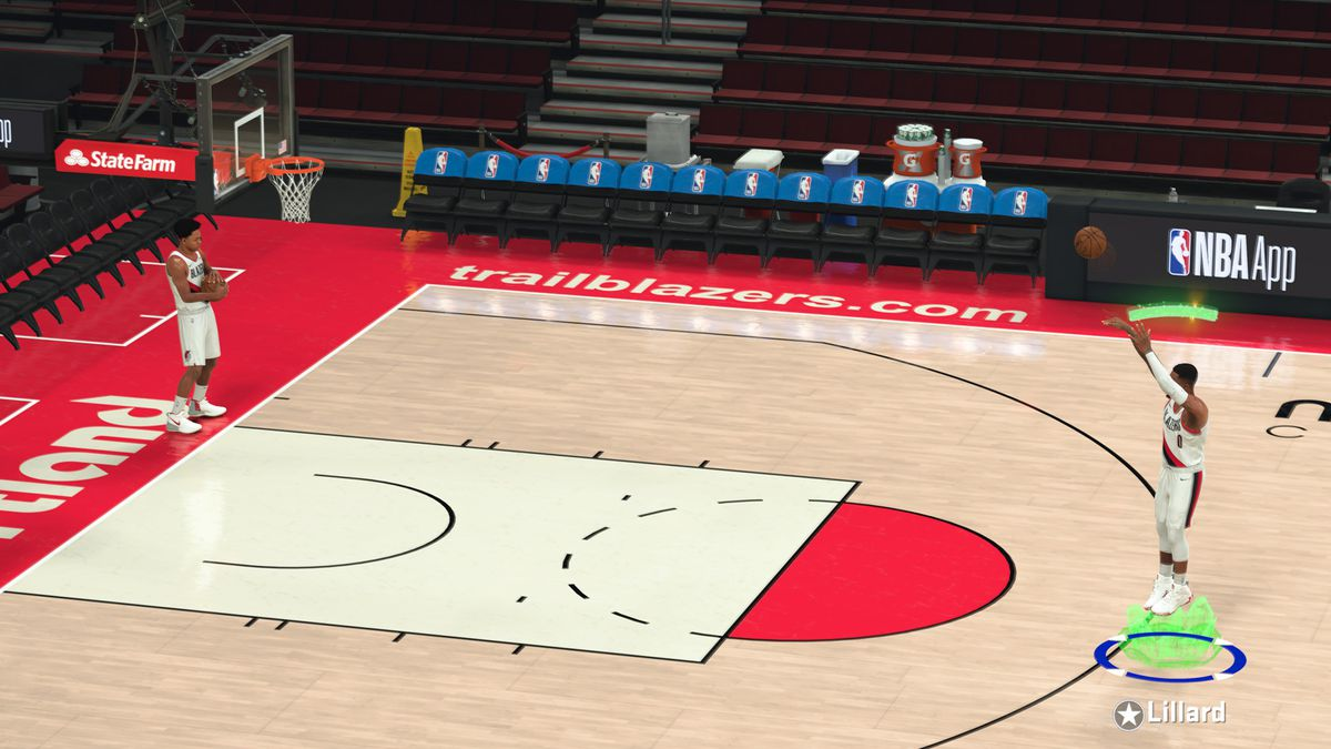 Cover star Damian Lillard demonstrating Shot Stick Aiming in NBA 2K21