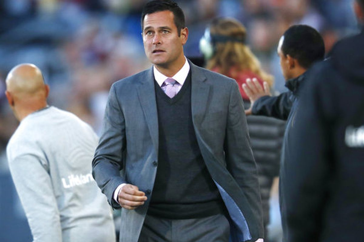 Real Salt Lake head coach Mike Petke looks on against the Colorado Rapids in the first half of an MLS soccer match, Sunday, Oct. 15, 2017, in Commerce City, Colo. (AP Photo/David Zalubowski)