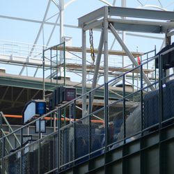 4:40 p.m. A closer view of the new framework, at the top of the right-center field bleachers -