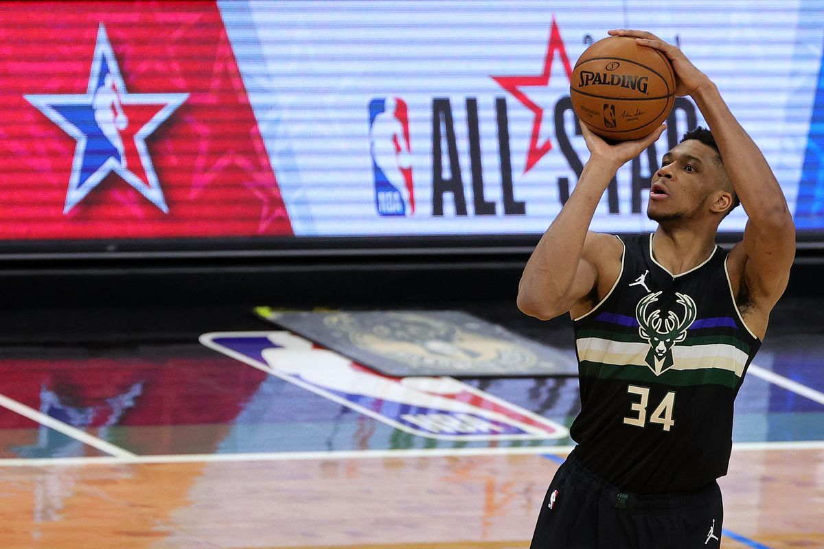 Giannis Antetokounmpo #34 of the Milwaukee Bucks takes a three point shot during the second half of a game against the New Orleans Pelicans at Fiserv Forum on February 25, 2021 in Milwaukee, Wisconsin.
