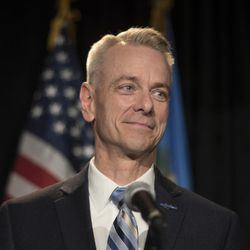 U.S. Rep. Steve Russell, R-Oklahoma, is shown at the Republican watch party in Oklahoma City on Nov. 8, 2016. The final version of the National Defense Authorization Act does not include the Russell Amendment, introduced by Russell in April. The provision was criticized by Democratic leaders and LGBT rights activists, who labeled it discriminatory.