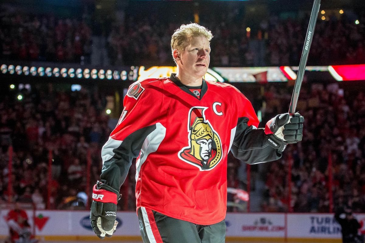 Daniel Alfredsson on the ice for his last skate with the team