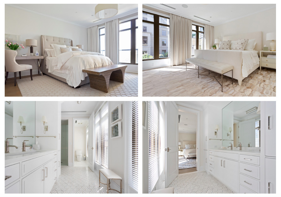 A white master bedroom with a huge white bed and white bathroom.