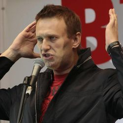 Opposition leader Alexei Navalny speaks at a protest rally in Moscow, Saturday, Sept. 15, 2012. Thousands of protesters marched across downtown Moscow on Saturday in the first major rally in three months against President Vladimir Putin, while defying the Kremlin's ongoing efforts to crackdown on opposition.