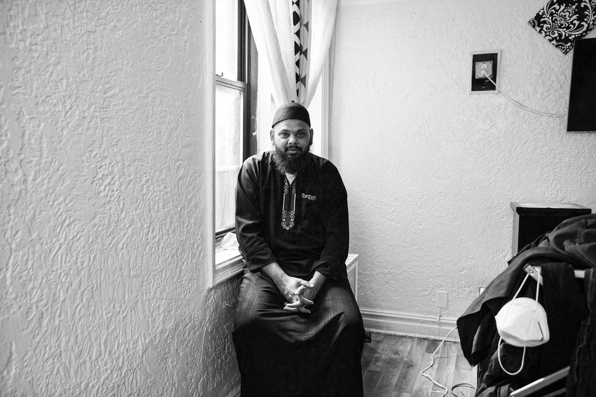 Imam Ahmed Ali Azur in his home on April 23, 2020 in Brooklyn, New York.