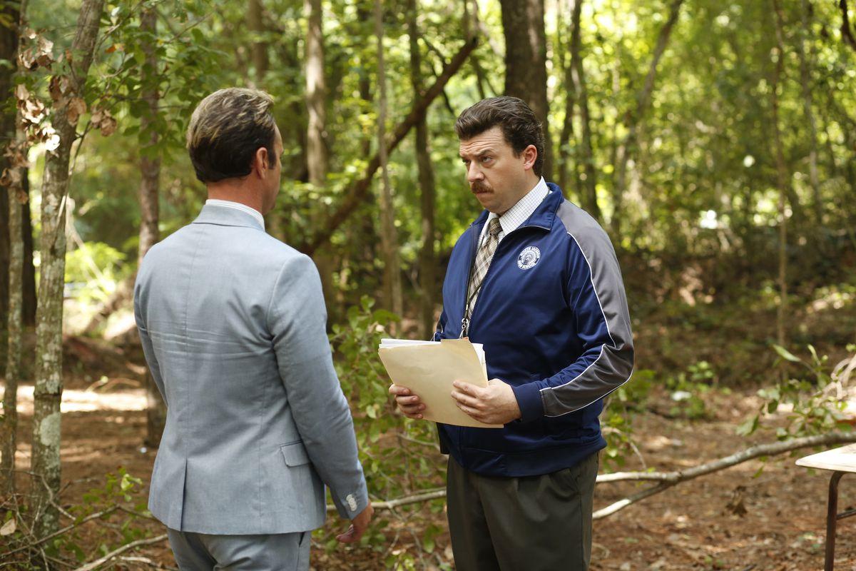 Lee (Walton Goggins) and Gamby (Danny McBride) confer in the woods in Vice Principals